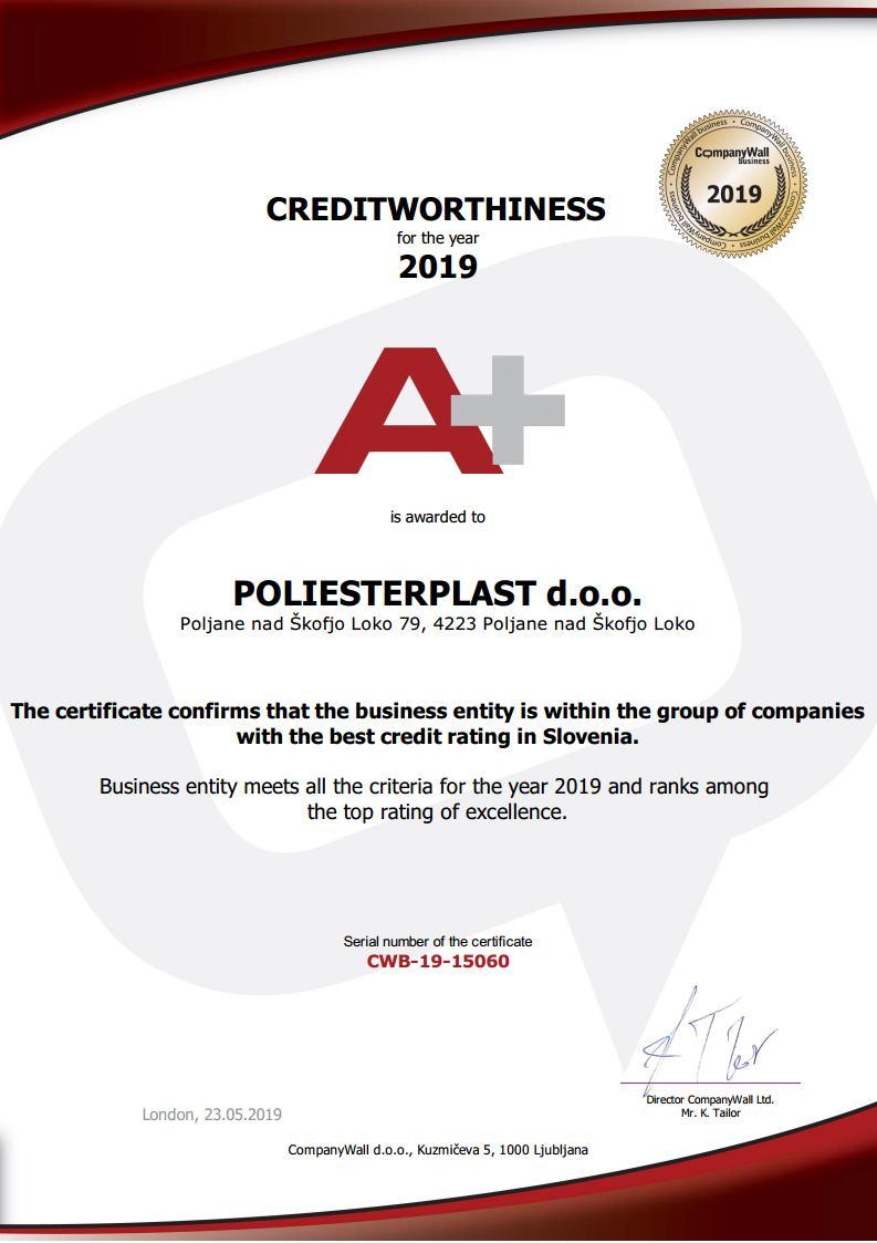 Certifikat 2019